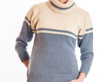 Ladies Cream and Light Blue Long Sleeve Polo Neck Sweater