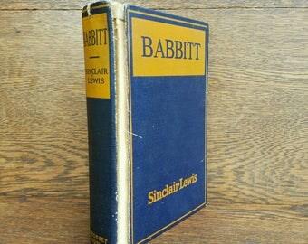 Babbitt- Sinclair Lewis- 1920's Vintage Classic Books- Illustrated- Blue / Orange Hardcover- American Culture, Satire, Fiction. 1924.