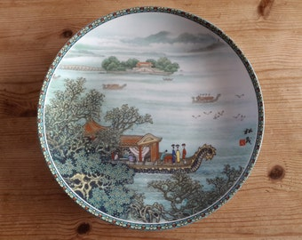 Chinese Imperial Jingdezhen Porcelain collector's plate – Boaters on Kunming Lake – 1990 - Scenes from the Summer Palace