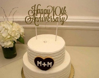 custom year happy anniversary cake topper 8 personalized topper silver or gold glitter party decor 1st 5th 10th 20th 25th
