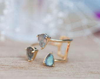 Rainbow Labradorite Gold Ring * Adjustable * Gemstone * Handmade * February Birthstone * Semi Precious Stone *Statement*Boho*Bohemian*BJR043