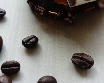 coffee to go - beaded cuff bracelet