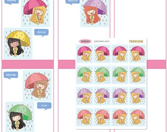 Rainy day Rain Boots Umbrella - Planner Stickers Erin Condren Kikki K Filofax Happy Planner Travelers Notebook Midori Decoration SWE001