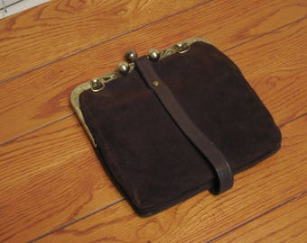 Vintage Brown Suede Converted Clutch - Handbags by Dominic