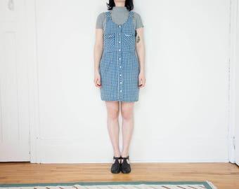 90s Blue Plaid Jumper Dress / Size 8