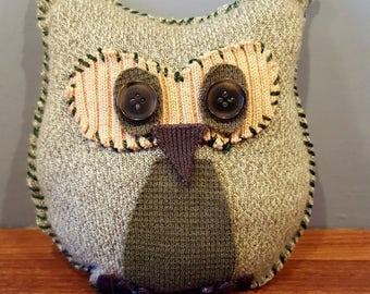 Light Green Sweater Owl, Upcycled, Recycled
