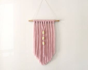 Blush Pink Mauve  1970s Inspired Modern Bohemian Wall Hanging with Beads