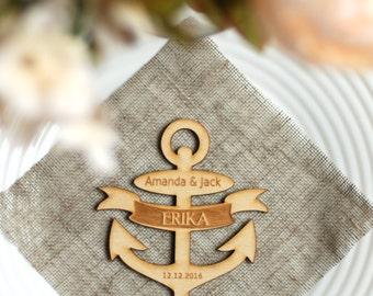 Wedding place cards, Wedding name cards, Anchor place cards, Lasercut name cards, Custom wood name cards, Nautical wedding, NC-3