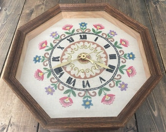 Vintage Embroidered Wall Hanging Clock