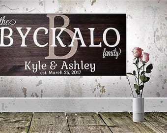 Wooden Family Name Sign - Style 1