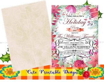Christmas Party Invitation, Watercolor Invitation-Holiday Invitation Printable INVNAVI-KENNA-118