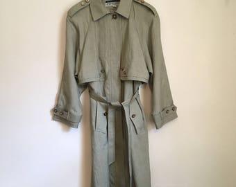 Trench coat jacket, 90s, long jacket, green khaki, S-M, *vintage*