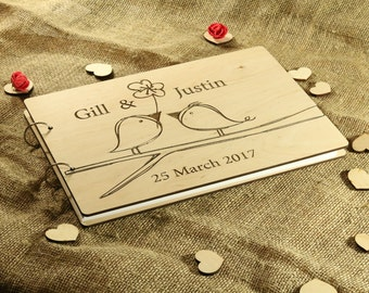 Rustic wedding album Wooden guest book alternative wood Guestbook Unique engraved journal Personalized gift for couple Love birds on branch