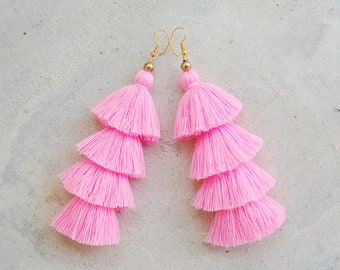 Light Pink Four Layered Tassel Earrings