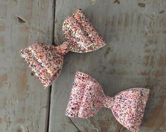 Handmade, Hair Bow, in Chunky Glitter. Sparkly hair bow