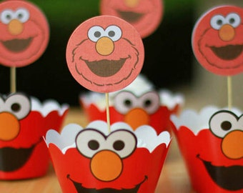 24 Pcs/Set Elmo Inspired Cupcake Wrappers and Toppers/Birthday Party Decorations