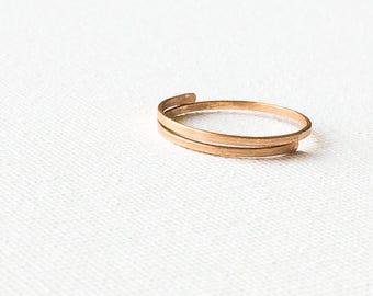 Minimal Bronze Ring, Simple Bronze Ring, Handmade Adjustable Ring, Plain Bronze Ring, Metal Rustic Ring, Bronze Jewelry, Women's Ring