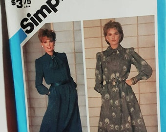 1984 Simplicity 6591 Misses Librarian Style Modest Dress Size 16 UNCUT FF Sewing Pattern