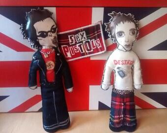 Muñecos Sex Pistols doll felt Sid Vicious Johnny Rotten Punk EMO