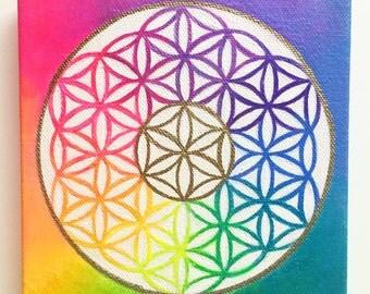 Flower of Life painting rainbow Sacred Geometry color mandala painting  - Spiritual Art
