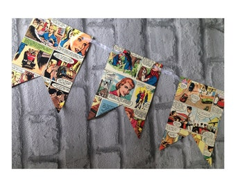 Vintage comic strip colourful paper bunting garland - recycled 1950s book pages
