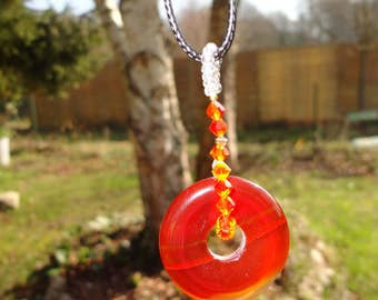 collar donut of carnelian and Crystal tops