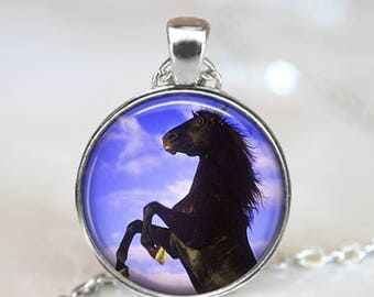 Wild Horse Necklace Black Horse Equestrian Gift - Magical Horse Necklace Equestrian Present - Magical Necklace Gift For Horse Rider Present