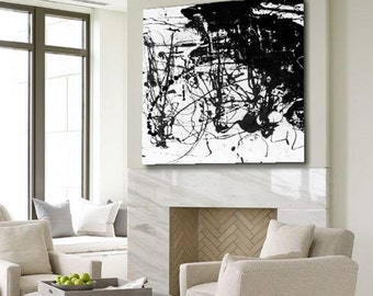 Large Hand Painted Square Black and White Abstract Painting Modern Art on Canvas. Several Sizes Available.