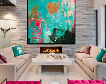 Abstract Acrylic Painting on Canvas. Large Hand Painted Square Colorful Modern Contemporary Art. Blue, Pink, Green and White Painting