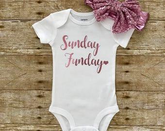 Baby Girl Bodysuit, Baby Girl Clothes, Baby Shower Gift, Sunday Funday Bodysuit, Cute Bodysuit, Girls Sunday Funday, Baby Gift
