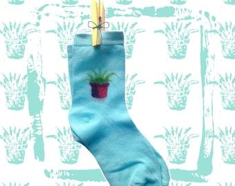 Pattern Socks handmade [PLANT] cotton, one size