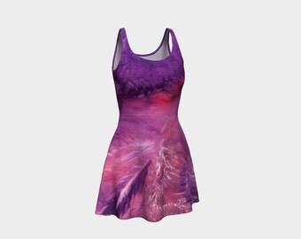 War In Heaven Flare Dress, modern print dress, abstract dress, art dress, purple body-con dress, pink dress