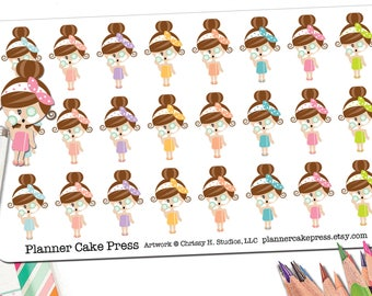 Spa Day Planner Stickers Pamper Yourself Relaxation Gifts Relax Face Mask Kawaii Brunette Asian Blonde Black Red Head Girl Fits ECLP More