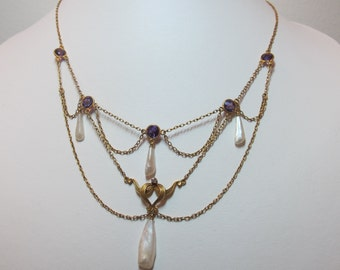 Antique Art Nouveau 14K Yellow Gold Amethyst and Fresh Water Pearl Necklace
