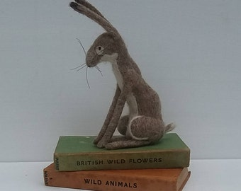 Needle Felted Sitting Brown Hare  -   READY TO SHIP