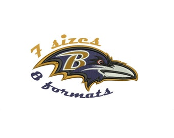 7 Sizes Baltimore Ravens Inspired Machine Embroidery Designs in 8 formats and 9 sizes