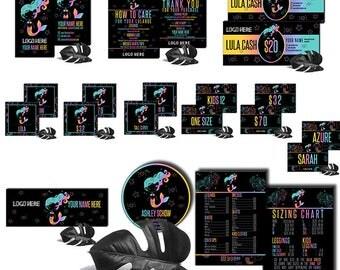 Black Mermaid Marketing Sets Design Digital Branding Kit Modern Business Card Name Size Signage