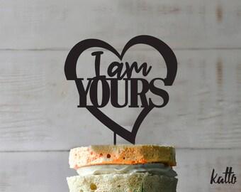 Anniversary cake topper- Silhouette Wedding Cake Topper- Personalized cake topper- Personalized wedding Cake Topper- I am Yours cake topper