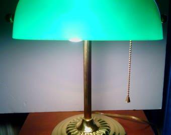 Vintage 1980's Green Glass Shade Bankers Desk Lamp