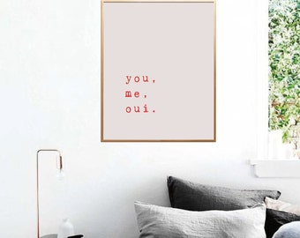 Love Quotes, You Me Oui, Love Printable, Modern Art, Bedroom Decor, Typography Print, Love Print, Typewriter Art, Printable, Quote Print