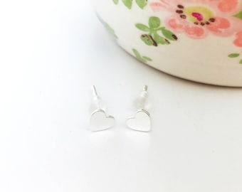 Sterling Silver Studs | Heart Earrings | Silver Heart Studs | Post Earrings | 925 Silver | Love Heart Studs | Birthday Gift | Best Friend