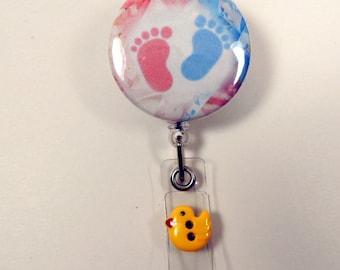 Baby Feet Badge Reel, Mother/Baby badge reel, pacifier holder for diaper bag, OB/GYN badge reel, Nursery badge reel, Newborn badge reel