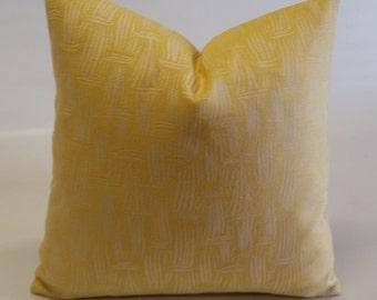Sunny golden yellow pillow cover, indoor/outdoor fabric, woven Jacquard, designer fabric, 18x18,20x20,lumbar, bolster cover, yellow pillow