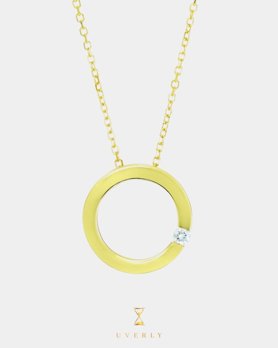 14k Solid Yellow Gold Circle Diamond  Charm Necklace