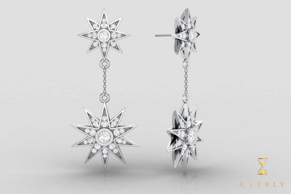 18k Solid Gold Womens Dangle Doible Star Diamond Sparkling Uverly Earrings