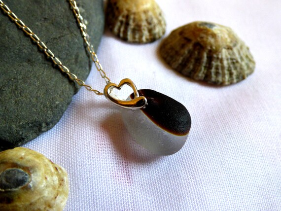 Unusual White & Brown Sea Glass Pendant Necklace with Sterling Silver Heart - PG16001
