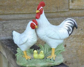 Homco Ceramic Chicken Family Figurine #1458