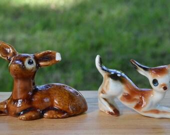 REDUCED! Vintage Miniature Porcelain Deer Figurines - Set of 2