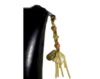 Cut Glass Crystal Beaded Zipper Charm Gold Tassel, Metal 'Pray' Charm, Sparkle Square, zipper pull, iPad Case Bling, Bible Cover zipperpull