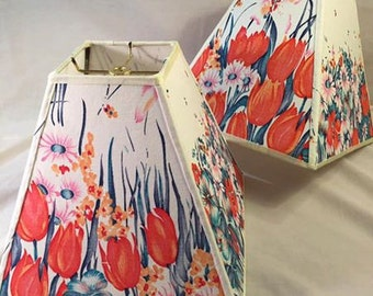 Custom Lampshade - Floral with Tulips